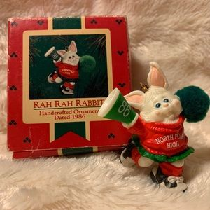 Rah Rah Rabbit Cheerleader 1986 Hallmark Ornament